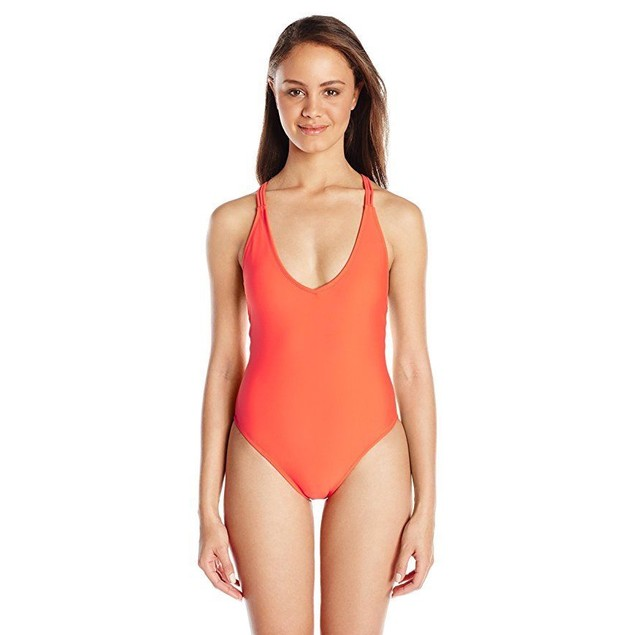 Volcom Women's Simply Solid One Piece Swimsuit, Fire Red, SZ X-Large