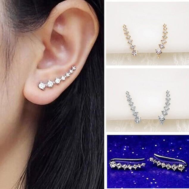 Women's Fashion 7 Rhinestones Charm Earrings