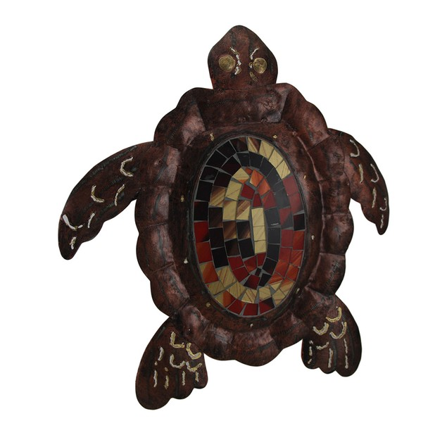 Small Mosaic Shell Brown Sea Turtle Sculpture Wall Sculptures