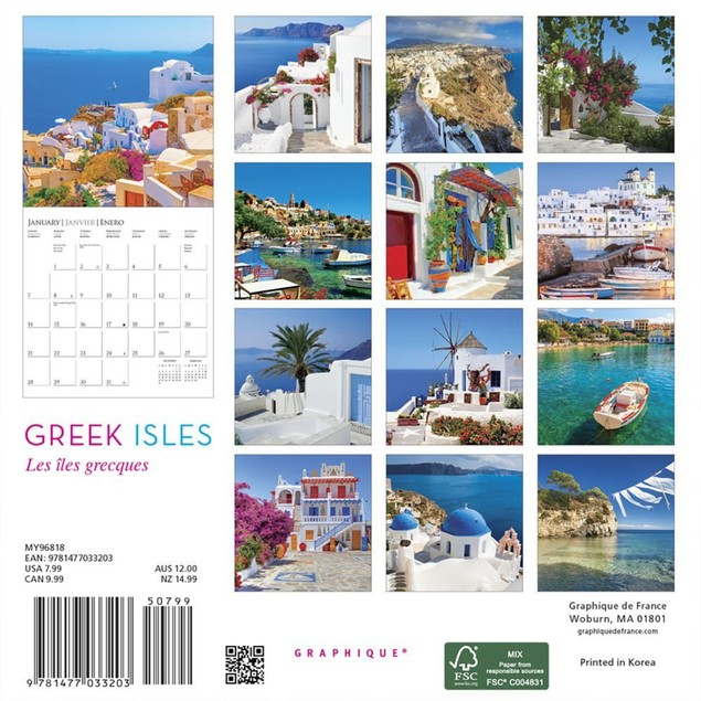 Greek Isles Mini Wall Calendar, More Europe by Calendars
