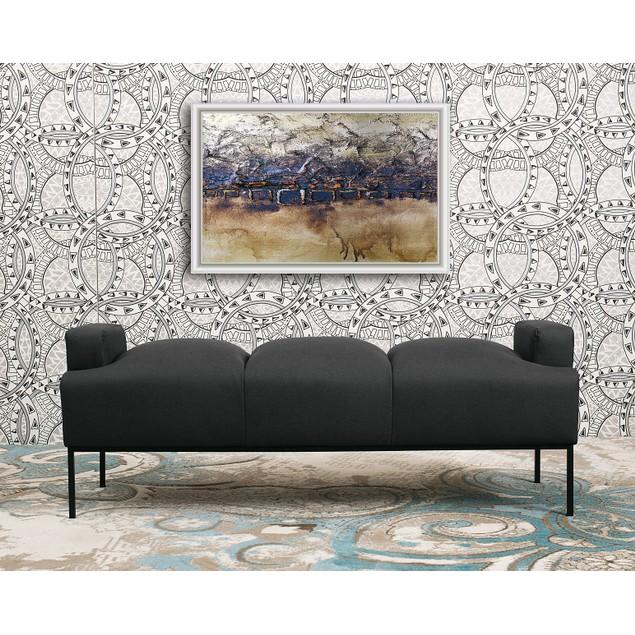Chic Home Tiya Pebble Grain Leather Bench Ottoman with Metal Frame