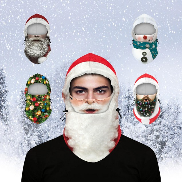 Adult Christmas Fleece Mask Neck Warmer With Adjustable Hood