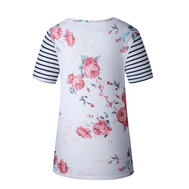 Striped Sleeve Floral Shirt