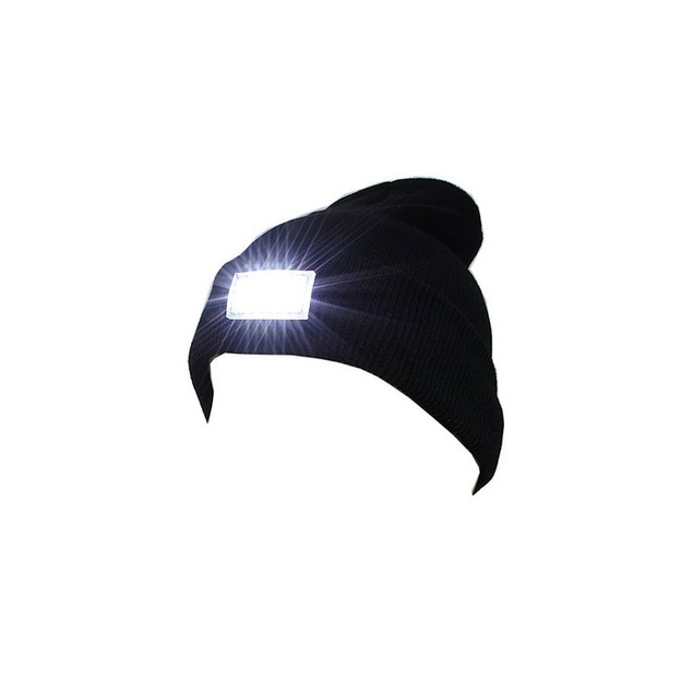 Unisex Knit Beanie Hat with 5 LED Light