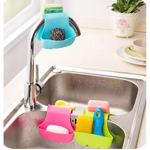Double Sink Caddy Kitchen Organizer Storage Sponge Holder Rack Tool