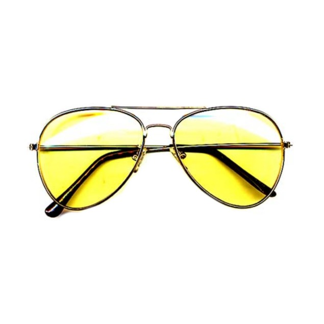 Yellow Lens Gold Frames Sunglasses