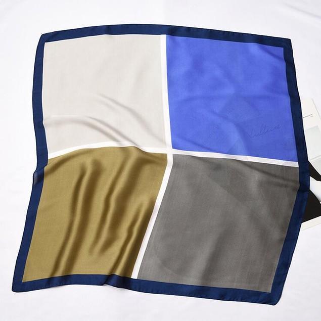 Square Silk Scarf/ Neckerchief/ Bandana - [Square Skyline]