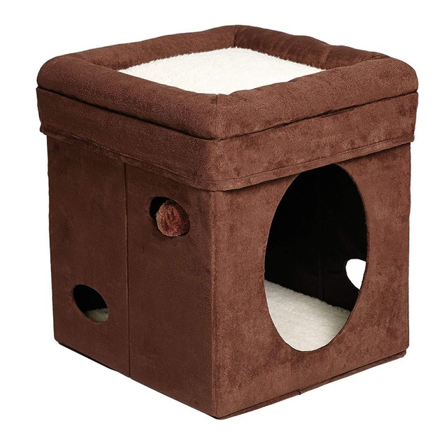 Curious Cat Cube Cat House Cat Condo Brown Single Story
