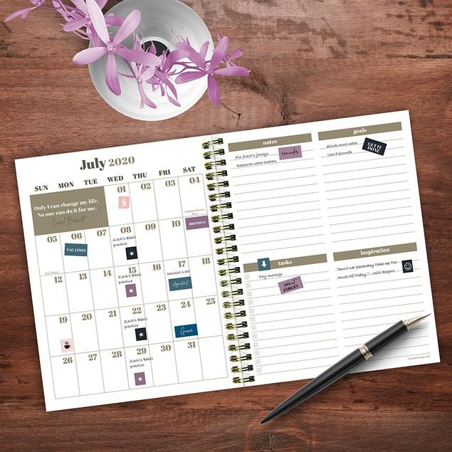 July 2020 - June 2021 Feminine Medium Daily Weekly Monthly Planners