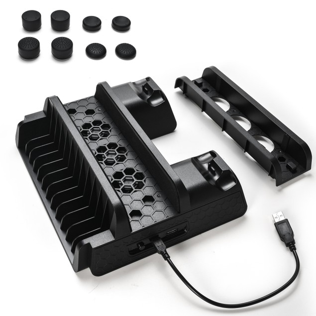 Agptek PS4 Vertical Stand with Cooling Fan Dual Controllers ChargingStation