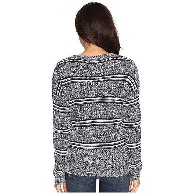 Brigitte Bailey Women's Marquis Striped Pullover Sweater Navy Combo Sw