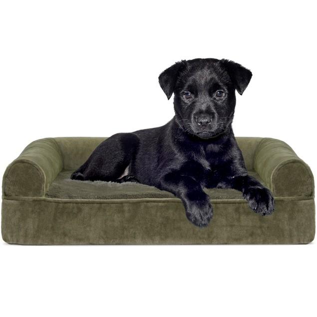 FurHaven Faux Fur & Velvet Orthopedic Sofa Pet Bed