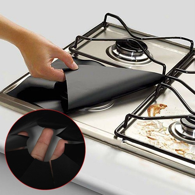 4pcs Reusable Kitchen Aluminum Foil Gas Stove Cover Clean For Cleaning