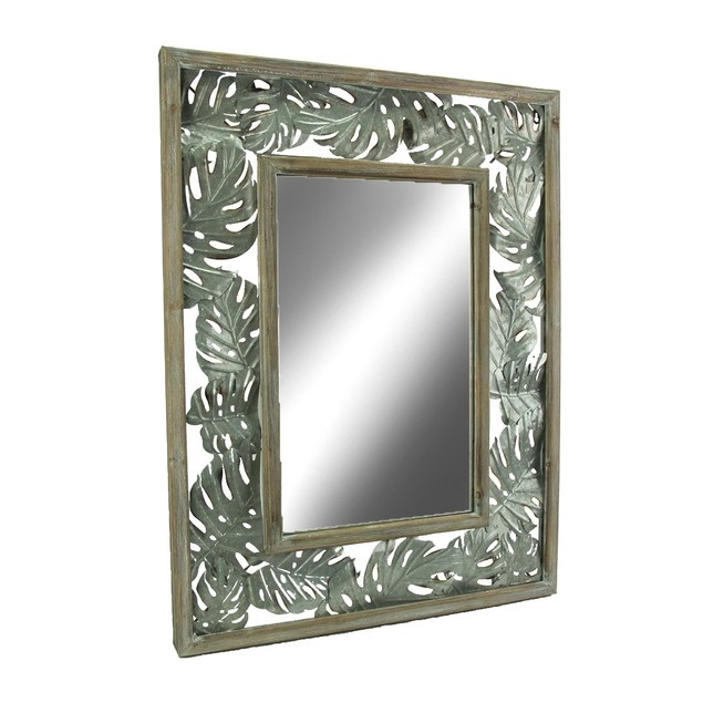 Tropical Wood And Metal Monstera Leaf Design Wall Wall Mounted Mirrors