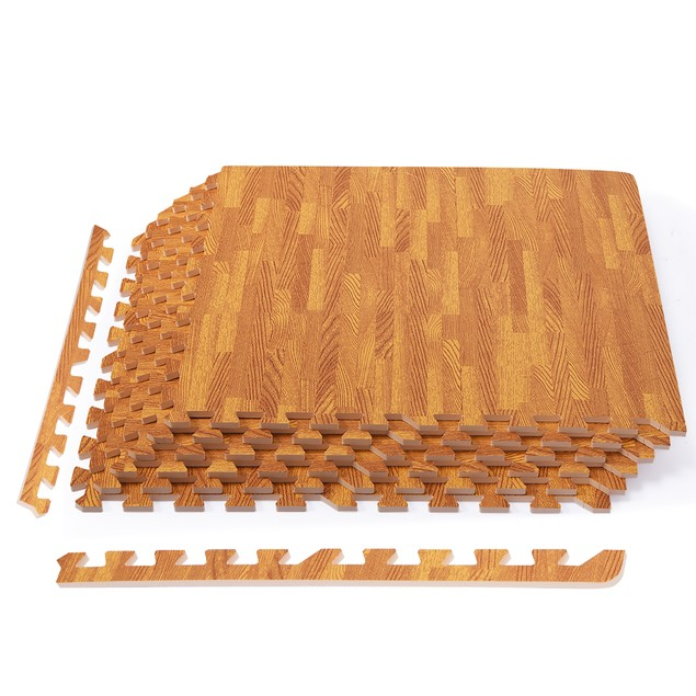12-Piece Interlocking Foam Floor Mats with Wood Grain Finish