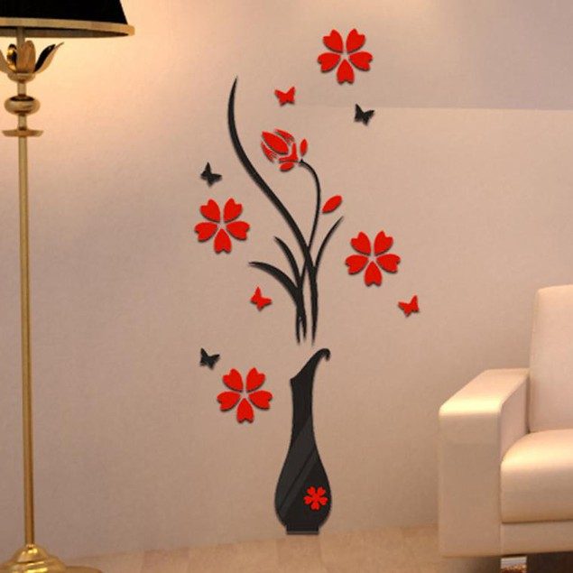 DIY Vase Flower Tree Crystal Arcylic 3D Wall Stickers Decal Home Decor