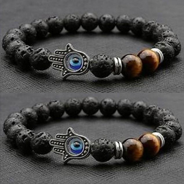 Fashion Lava Rock Beads Silver Charm Bracelet