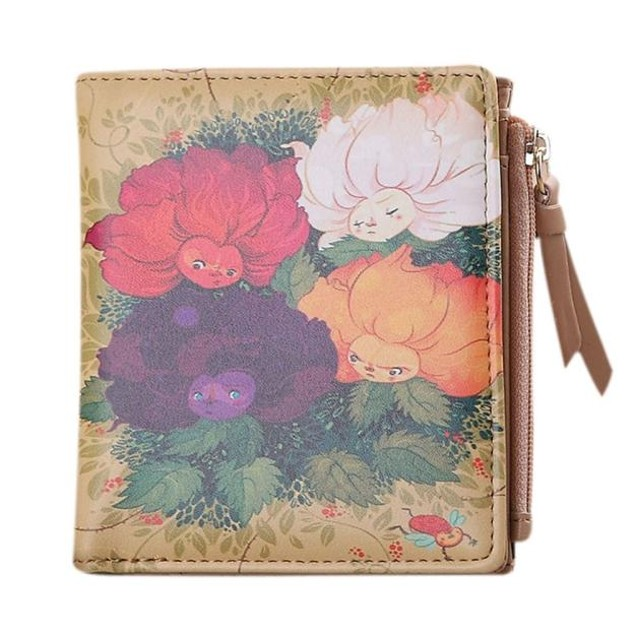 Women Vintage Flowers Coin Clip Purse Short Wallet Clutch Handbag
