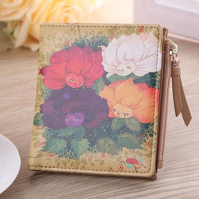 Women Vintage Flowers Coin Clip Purse Short Wallet Clutch Handbag