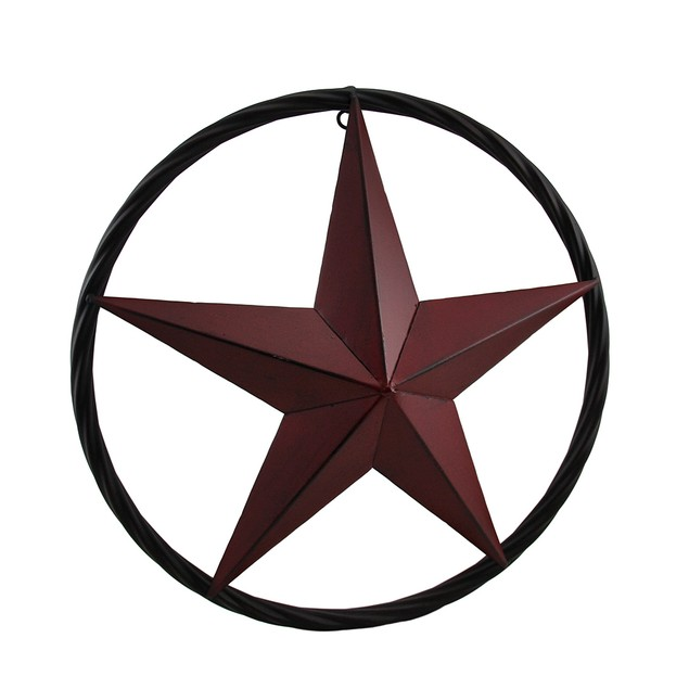 Rustic Red Metal Star Wall Hanging With Rope Look Wall Sculptures