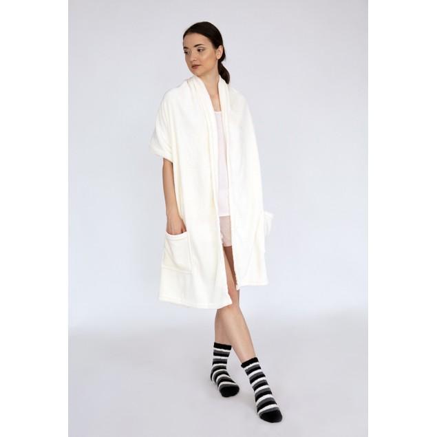 Wrap Snuggle Soft Flannel Fleece Wearable Blanket with Pair Socks