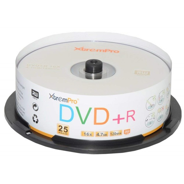 DVD+R 16X 4.7GB 120Min  DVD 25 Pack Blank Discs in Spindle