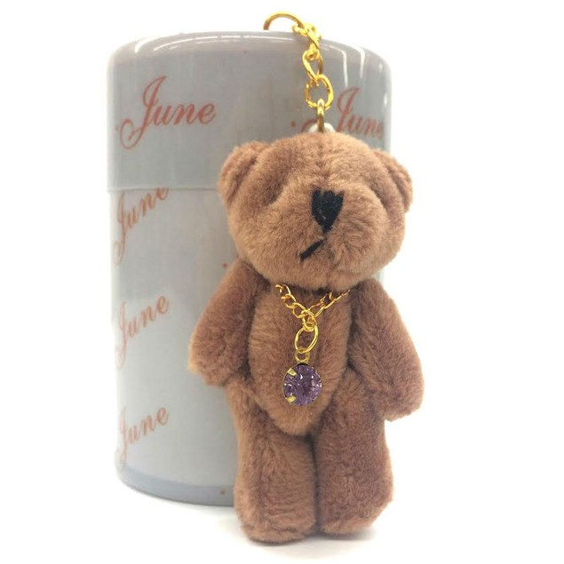 Keychain Plush Stuffed Teddy Bear with Birthstone