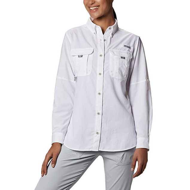 Columbia Women's Bahama Long Sleeve Shirt, White, SZ  Medium