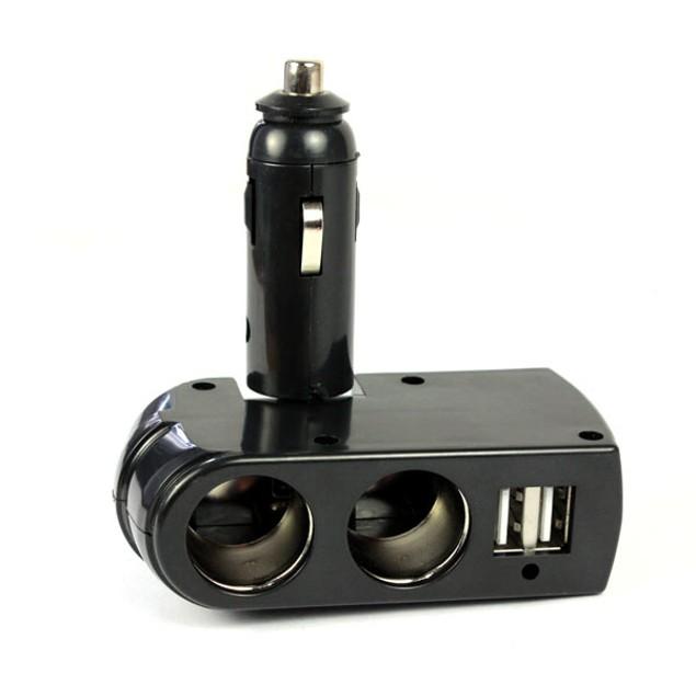 USB Charger Supply + Double Sockets Car Cigarette Lighter Extender