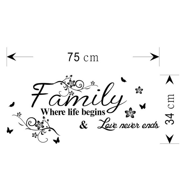 Family Beautiful Flower Wall Stickers Home  Decor Wall Sticker