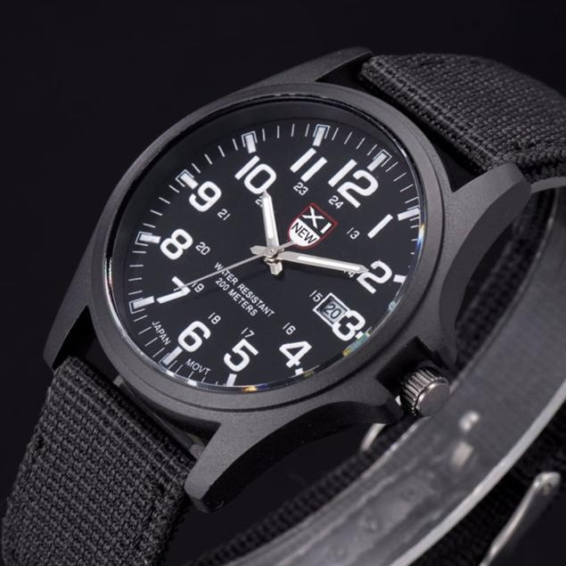 Men's Stainless Steel Analog Quartz Army Wrist Watch - 5 Colors