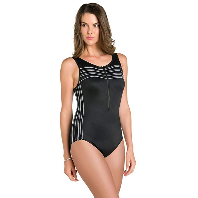 Miraclesuit Women's Sports Page Speed One-Piece Black/White Swimsuit
