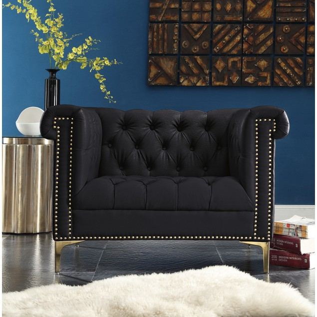 Chic Home Dwight Leather Button Tufted Goldtone Metal Y-leg Club Chair