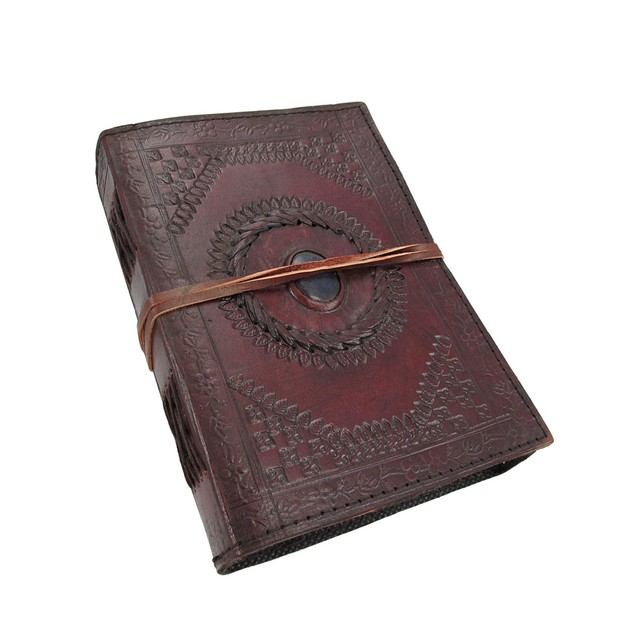 Embossed Leather Blue Stone 120 Page Unlined Art Sketchbooks And Notebooks