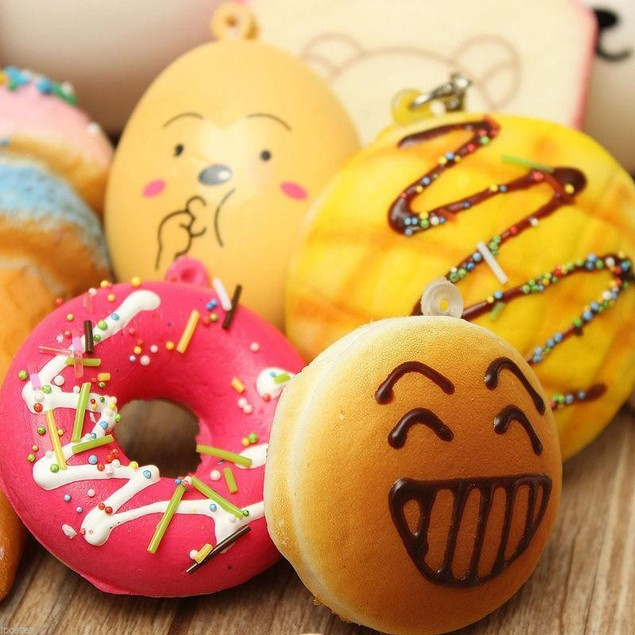 10Pcs Random Squishy Panda/Bread/Cake/Buns/Donut Phone Straps