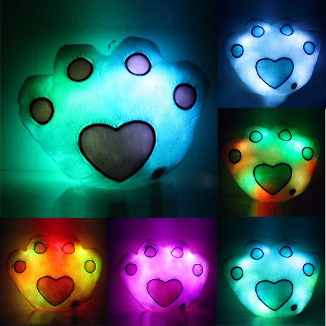 Footprint Type Shaped LED Pillow 7 Color Changing Light Up Soft Cushion