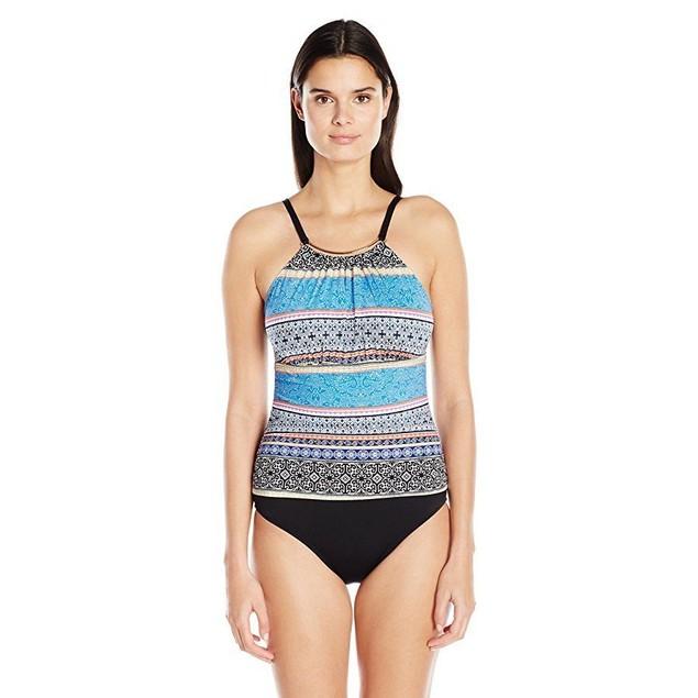 Jantzen Women's Batik Stripe High Neck Over the Shoulder One Piece sz: