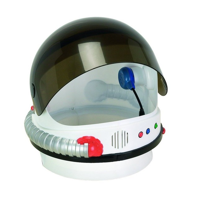 White NASA Child Astronaut Helmet with Sound Space USA Costume