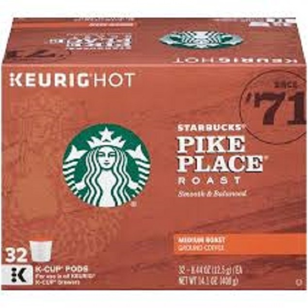 Starbucks Pike Place Medium Roast Keurig 32 K-Cup Box
