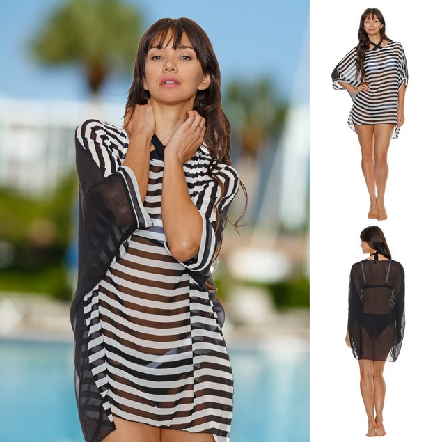 Black and White Stripe Cover-up