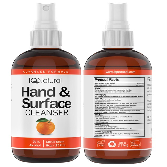 Hand and Surface Cleaner Spray - Citrus Scent - 8oz Bottle