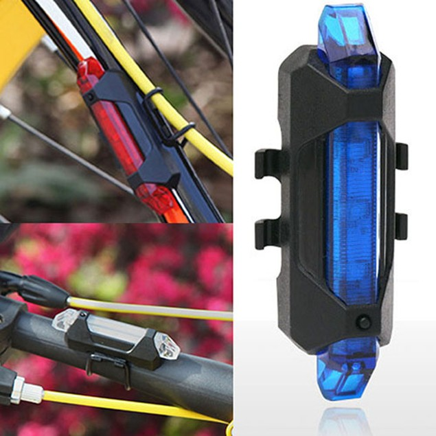 New 5 LEDs USB Rechargeable Bicycle Rear Safety Tail Light