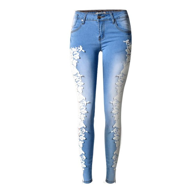 Women Fashion Side Lace Jeans Hollow Out Skinny Denim Jeans Woman