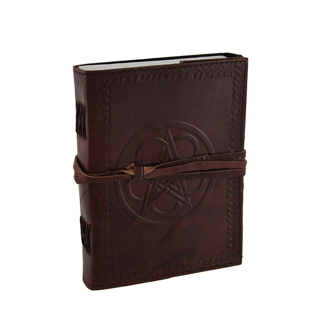 Embossed Leather Celtic Pentacle 120 Page Unlined Art Sketchbooks And