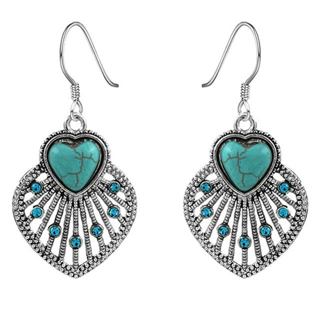 Women Bohemia Hollow Leaves Turquoise Dangle Hook Earrings