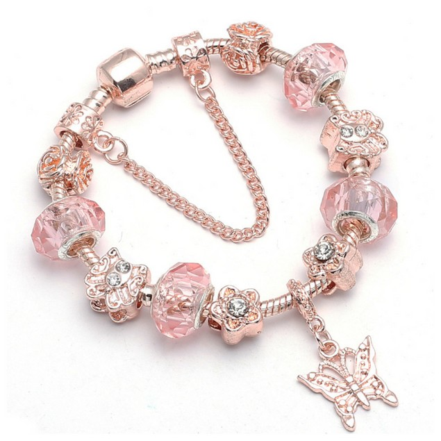 Crystal Murano Butterfly Charm Bracelet