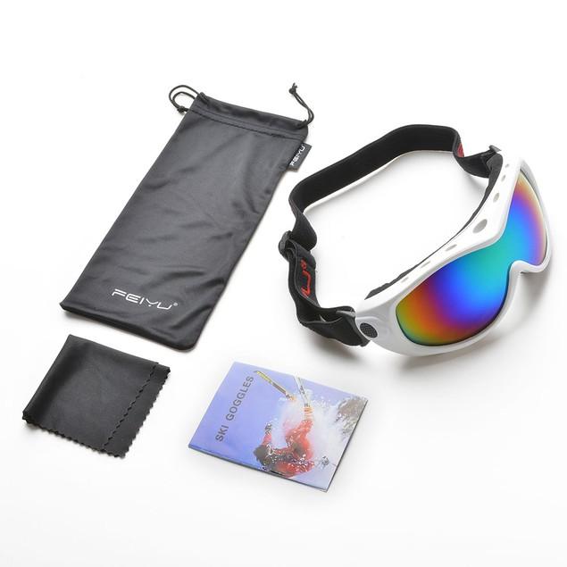 ODOLAND Ski Goggles for Junior 6+ Years Anti-Fog Windproof, White