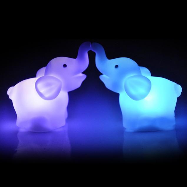 2PC Elephant Shape LED Night Light Color Changing Lamp Wedding Party Decor