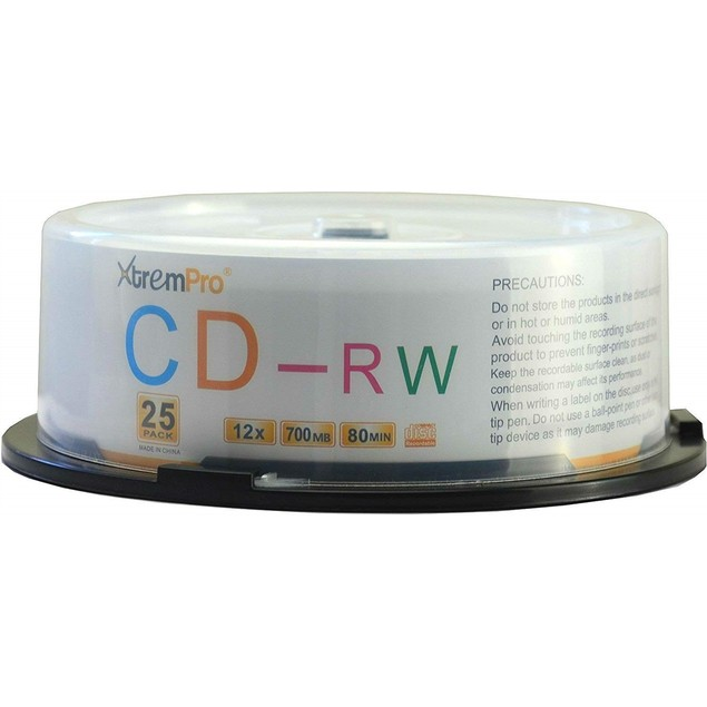 CD-RW 12 X 700MB 80Min CD 25 Pack Blank Discs in Spindle