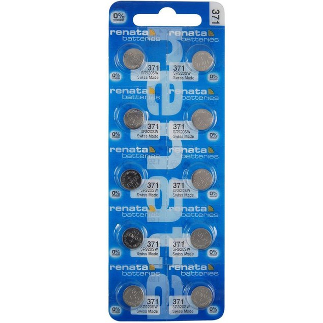 Renata 371 (SR920SW) Silver Oxide Watch Batteries (10 Pack)